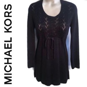 Michael Kors Black Knit Long Sleeve Tunic Top L